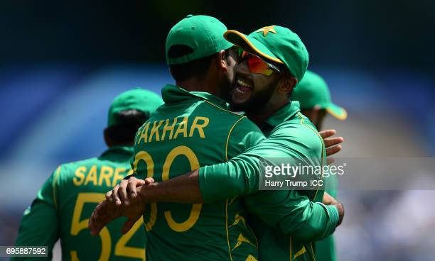Fahkar Zaman of Pakistan celebrates after catching Moeen Ali of England during the ICC Champions Trophy Semi Final match between England and Pakistan...