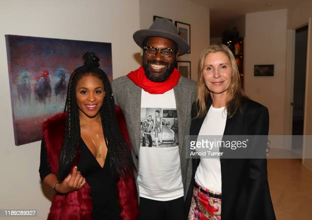 Fahnia Thomas Shaun Edwards and Nancy Ross attend the Dolemite Is My Name LA AMPAS Hosted Tastemaker at ROSS HOUSE on November 21 2019 in Los Angeles...
