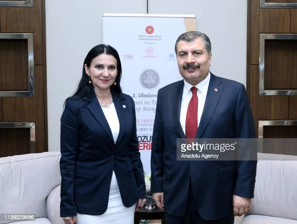 Fahrettin Koca Minister of Health of Turkey and Sorina Pintea the Minister of Health of Romania pose for a photo during their meeting held ahead of...