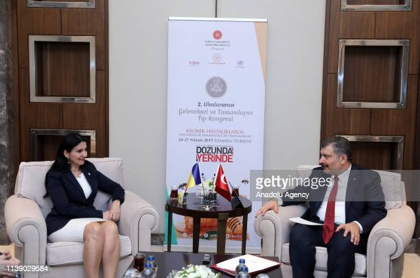 Fahrettin Koca Minister of Health of Turkey chats with Sorina Pintea the Minister of Health of Romania during their meeting held ahead of 2nd...