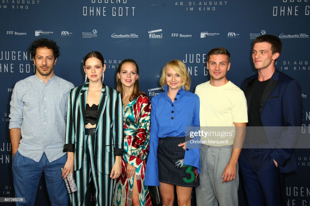 Fahri Yardim, Emilia Schuele, Alicia von Rittberg Anna Maria Muehe, Jannik Schuemann and Jannis Niewoehner attend the premiere of 'Jugend ohne Gott' at Zoo Palast on August 22, 2017 in Berlin, Germany.