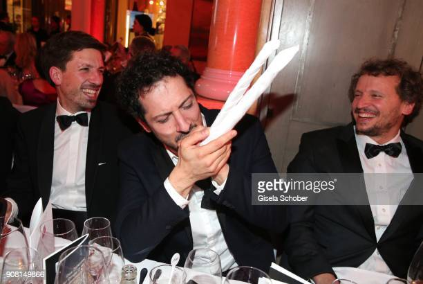 Fahri Yardim Marcus H Rosenmueller make fun during the German Film Ball 2018 at Hotel Bayerischer Hof on January 20 2018 in Munich Germany