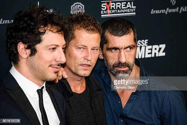 Fahri Yardim Til Schweiger and Erdal Yildiz attend the 'Tatort Der Grosse Schmerz' premiere in Berlin at Kino Babylon on December 16 2015 in Berlin...