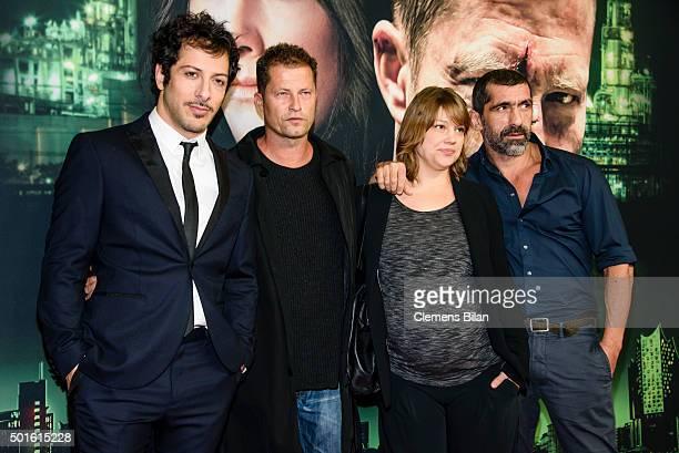 Fahri Yardim Til Schweiger Britta Hammelstein and Erdal Yildiz attend the 'Tatort Der Grosse Schmerz' premiere in Berlin at Kino Babylon on December...