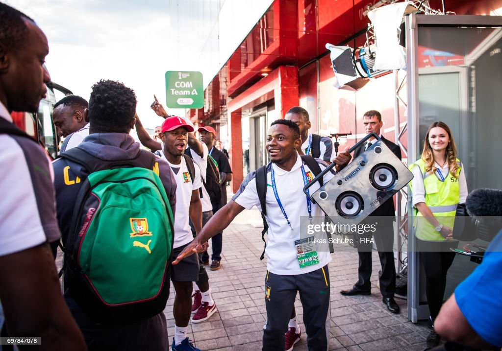 Fai Collins and team mates of Cameroon arrive prior to the FIFA Confederations Cup Russia 2017 Group B match between Cameroon and Chile at Spartak Stadium on June 18, 2017 in Moscow, Russia.