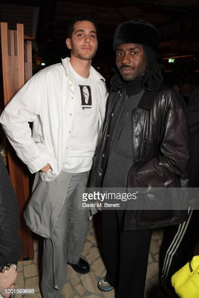 Fai Khadra and Dev Hynes aka Blood Orange attend the LOVE Magazine LFW Party celebrating issue 23 at The Standard London on February 17 2020 in...