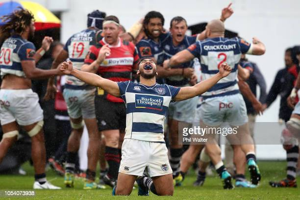 Faiane of Auckland celebrates on full time during the Mitre 10 Cup Premiership Final match between Auckland and Canterbury at Eden Park on October 27...