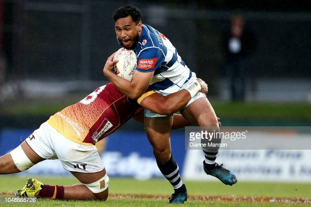 Faiane of Auckland is tackled by Bill Fukofuka of Southland during the round nine Mitre 10 Cup match between Southland and Auckland at Rugby Park...