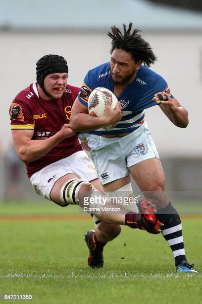 Faiane of Auckland is tackled during the round five Mitre 10 match between Southland and Auckland at Rugby Park Stadium on September 15 2017 in...