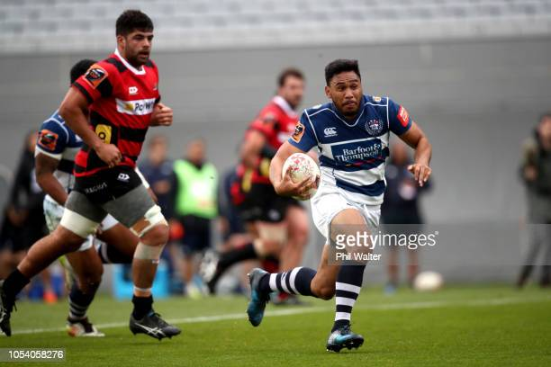 Faiane of Auckland makes a break during the Mitre 10 Cup Premiership Final match between Auckland and Canterbury at Eden Park on October 27 2018 in...