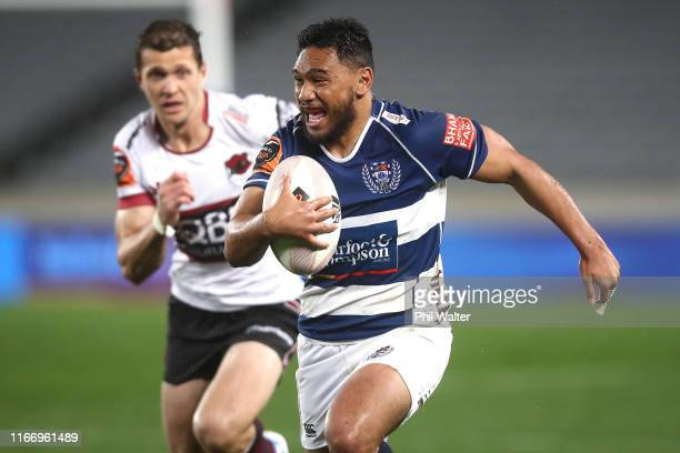 Faiane of Auckland makes a break during the Round 1 Mitre 10 Cup match between Auckland and North Harbour at Eden Park on August 09, 2019 in...