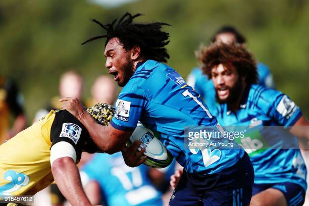 Faiane of the Blues on the charge during the Super Rugby trial match between the Blues and the Hurricanes at Mahurangi Rugby Club on February 15 2018...