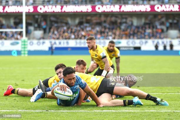 Faiane of the Blues scores a try during the round 1 Super Rugby Aotearoa match between the Blues and the Hurricanes at Eden Park on June 14 2020 in...
