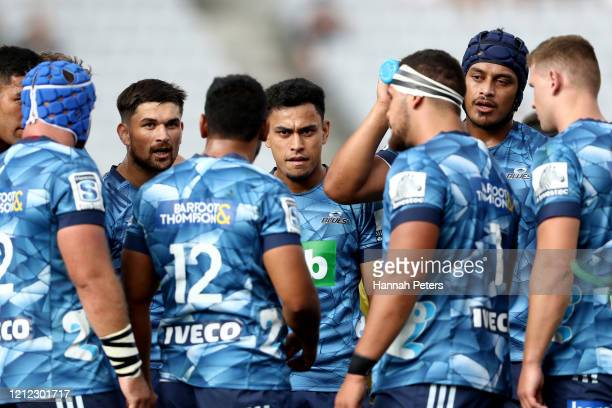 Faiane of the Blues talks to his team during the round seven Super Rugby match between the Blues and the Lions at Eden Park on March 14, 2020 in...