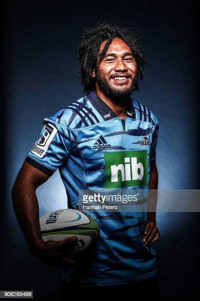 TJ Faiane poses during the Blues Super Rugby headshots session at Blues HQ on January 17 2018 in Auckland New Zealand