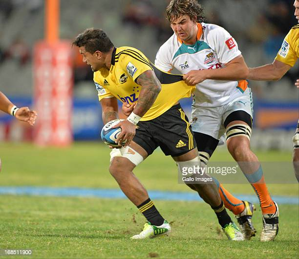 Faifili Levave during the Super Rugby match between Toyota Cheetahs and Hurricanes at Free State Stadium on May 10 2013 in Bloemfontein South Africa