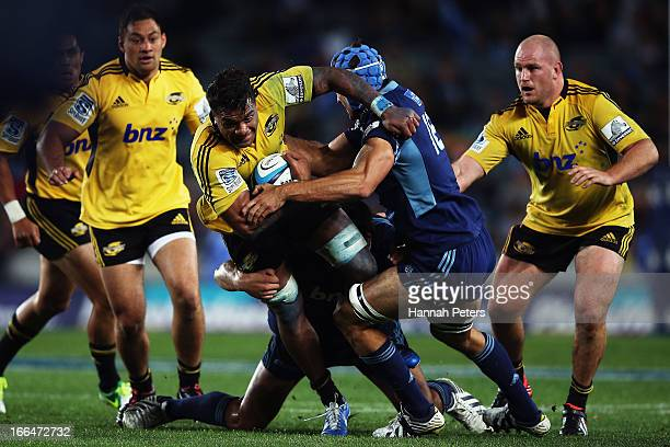 Faifili Levave of the Hurricanes charges forward during the round nine Super Rugby match between the Blues and the Hurricanes at Eden Park on April...