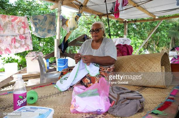 Faigalfa Tongalua crochets a pillowcase on August 15 2018 in Funafuti Tuvalu Crafts are an important part of life with fans shell necklaces and...