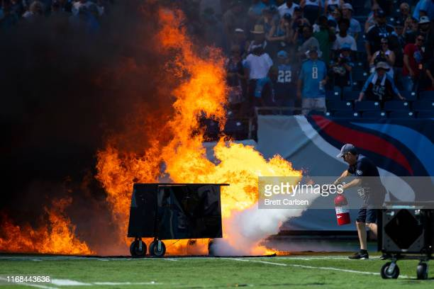 Failed pyrotechnic device bursts into flames before the game between the Tennessee Titans and the Indianapolis Colts at Nissan Stadium on September...