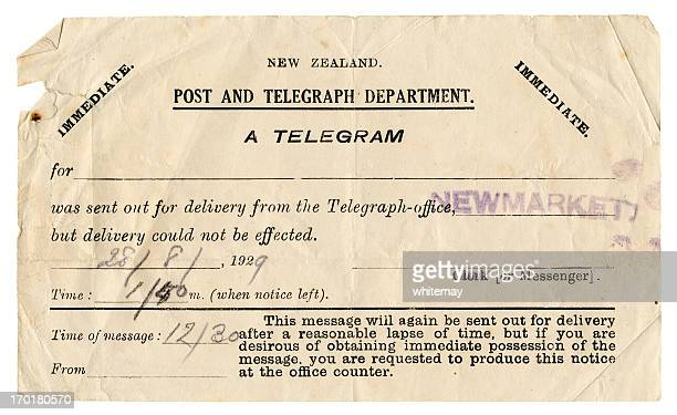 failure to deliver a telegram - new zealand, 1929 - 1920 1929 stock pictures, royalty-free photos & images