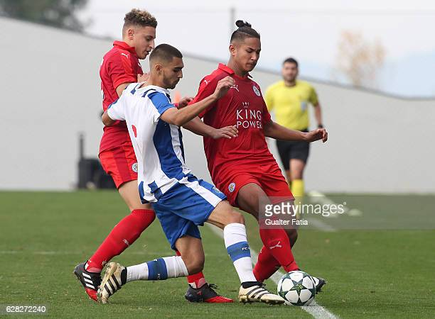 Faiq Bolkiah of Leicester City FC with FC Porto's midfielder Rui Pires and Kairo ArlottJohn of Leicester City FC in action during the UEFA Youth...