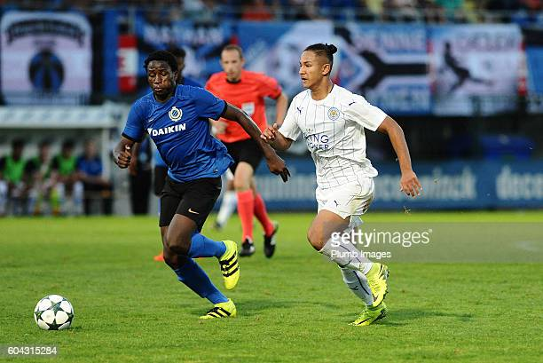 Faiq Bolkiah of Leicester City in action with Daouda Peeters of Club Brugge during the UEFA Youth Champions league tie between FC Brugge and...