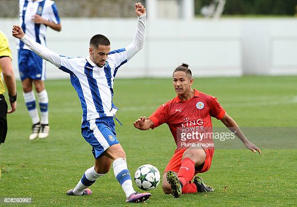 Faiq Bolkiah of Leicester City in action with Diogo Dalot of FC Porto during the UEFA Youth Champions Leagues match between FC Porto and Leicester...