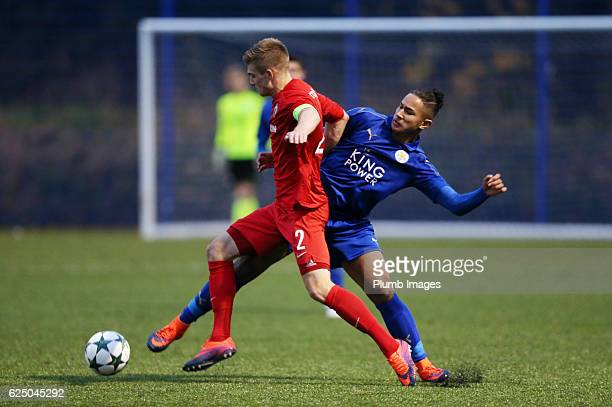 Faiq Bolkiah of Leicester City in action with Jur Schryvers of Club Brugge during the UEFA Youth Champions League match between Leicester City and...