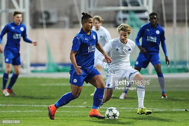 Faiq Bolkiah of Leicester City in action with Morten Hjulmand of FC Copenhagen during the UEFA Youth Champions League match between FC Copenhagen and...