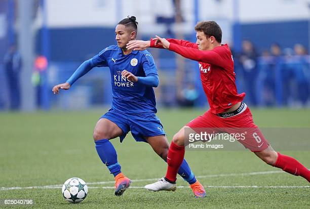 Faiq Bolkiah of Leicester City in action with Senne Lynen of Club Brugge during the UEFA Youth Champions League match between Leicester City and Club...