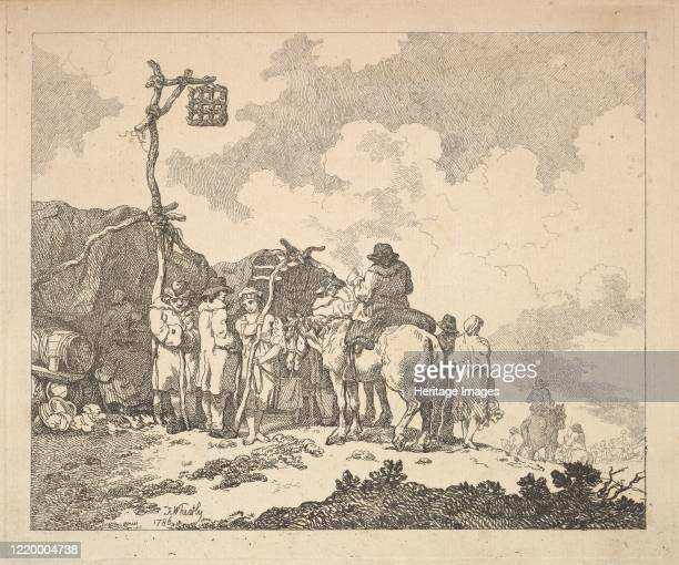 A Fair A Group of Gypsies Men and Women in Rustic Clothes in Front of Two Makeshift Tents 1786 Artist Thomas Rowlandson