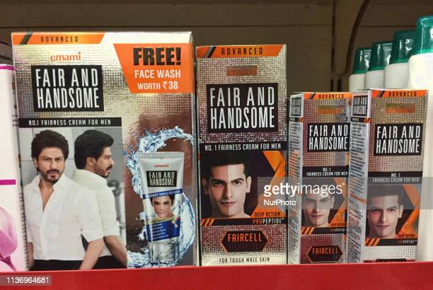 Skin lightening creams for sale at a shop in Thiruvananthapuram Kerala India Products like this are common all over India and they are believed to...