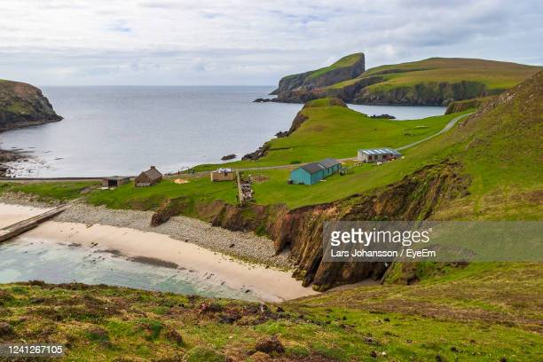 fair isle in the atlantic ocean - farm stock pictures, royalty-free photos & images