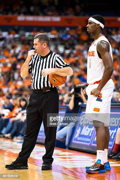 J Fair of Syracuse Orange waits with a referee to restart play in the second half of a basketball game against Colgate Raiders on November 16 2013 at...