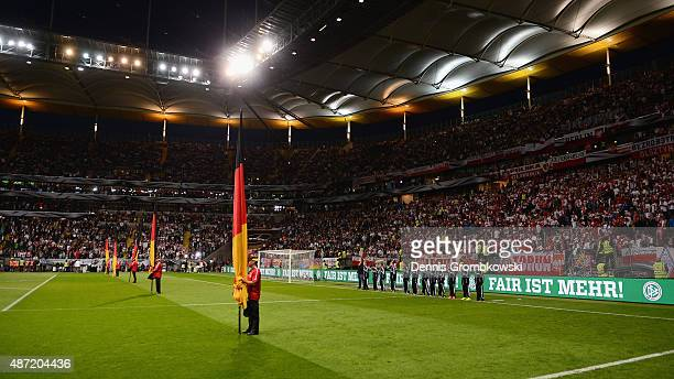 Fair Play campaign is displayed on the boards prior to kickoff during the EURO 2016 Qualifier Group D match between Germany and Poland at...