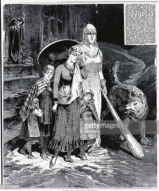 Fair play for unprotected women Teach them to keep the wolf from the door Cartoon 1885
