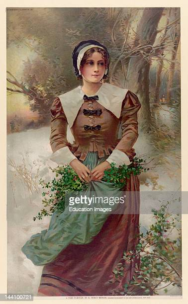 A Fair Puritan / E Percy Moran Woman Standing In Snow Holding Holly In Her Apron Medium 1 Print Chromolithograph Color Created/Published New York GH...