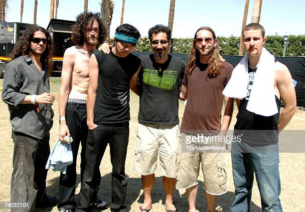 Fair to Midland Matt Langley Cliff Campbell Darroh Sudderth Serj Tankian Brett Stowers and Jon Dicken pose backstage at the Coachella Valley Music...