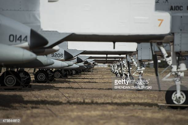 Fairchild Republic A10 Thunderbolt II aircraft are seen stored in the boneyard at the Aerospace Maintenance and Regeneration Group on DavisMonthan...