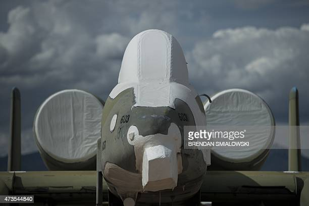 A Fairchild Republic A10 Thunderbolt II aircraft is seen stored in the boneyard at the Aerospace Maintenance and Regeneration Group on DavisMonthan...