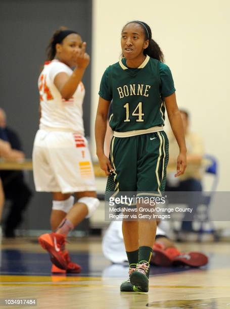 Fairfax's Tania Lee gives Narbonne's Alexis Guidry the finger after Guidry commited an intentional foul in Los Angeles CA on Saturday March 8 2014...