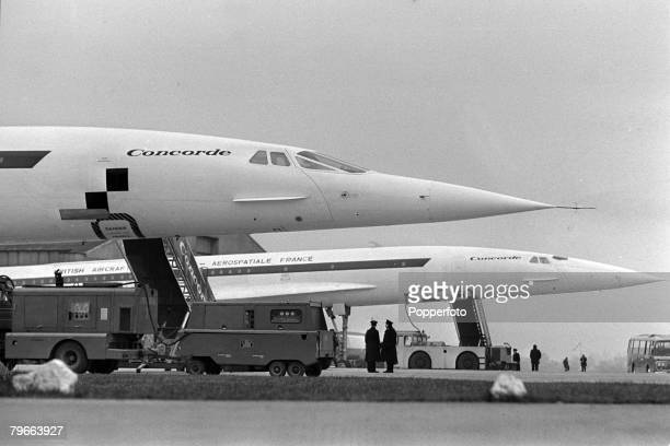 Fairford, Gloucestershire, England, 17th December 1971, A British assembled pre-production Concorde 01 at the Fairford test base after its maiden...