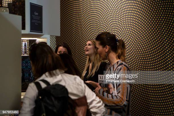 Fairgoers visit the Alessi display stand during the Salone Internazionale del Mobile at Fiera di Rho on April 17 2018 in Milan Italy Every year...