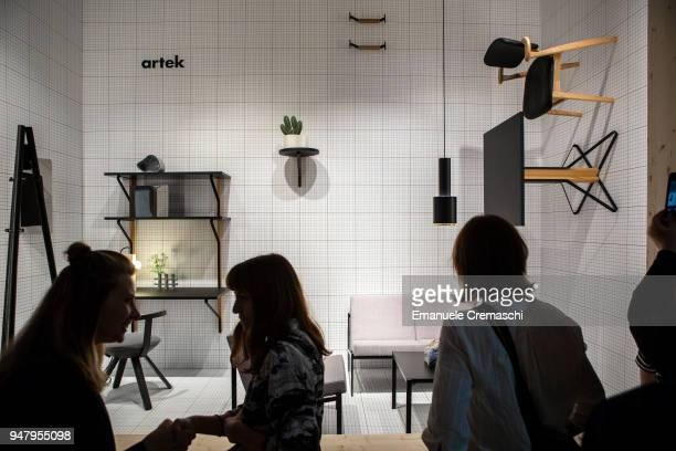 Fairgoers visit the artek display stand during the Salone Internazionale del Mobile at Fiera di Rho on April 17 2018 in Milan Italy Every year Salone...