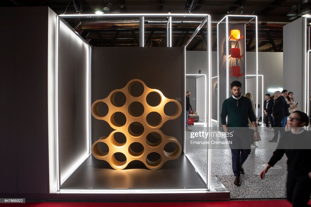 Fairgoers visit the Cappellini display stand during the Salone Internazionale del Mobile at Fiera di Rho on April 17, 2018 in Milan, Italy. Every year, Salone and Fuorisalone define the Milan Design Week, the most important event in the world for design. With over 2.000 exhibitors, the Salone Internazionale del Mobile (Milan Furniture Fair) is the largest furniture fair in the world. Beside that, the Fuorisalone includes a set of 1.200 events distributed all over Milan.