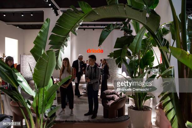 Fairgoers visit the Driade display stand during the Salone Internazionale del Mobile at Fiera di Rho on April 17 2018 in Milan Italy Every year...