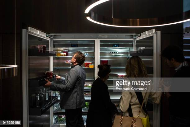 Fairgoers visit the Gaggenau display stand during the Salone Internazionale del Mobile at Fiera di Rho on April 17 2018 in Milan Italy Every year...