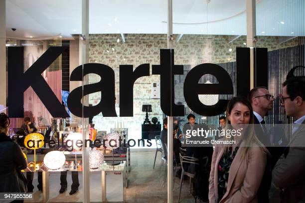 Fairgoers visit the Kartell display stand during the Salone Internazionale del Mobile at Fiera di Rho on April 17 2018 in Milan Italy Every year...