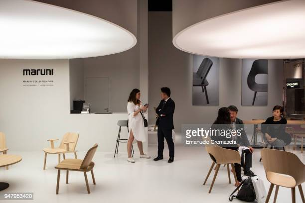 Fairgoers visit the Maruni display stand during the Salone Internazionale del Mobile at Fiera di Rho on April 17 2018 in Milan Italy Every year...