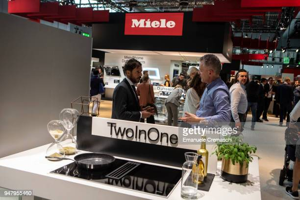 Fairgoers visit the Miele display stand during the Salone Internazionale del Mobile at Fiera di Rho on April 17 2018 in Milan Italy Every year Salone...